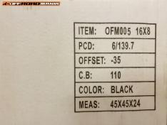 JANTE OTEL OFFROAD 16X10J – 6×139.7 – ET-50