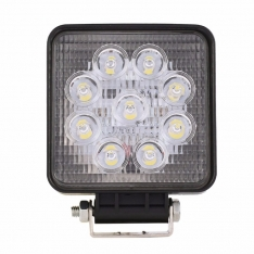 Lampa de lucru 9 LED-uri 27W Spot Slim Patrat 12V